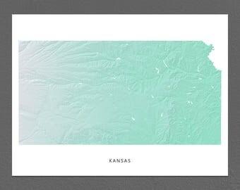 Kansas Map Print, Kansas State, Aqua, KS Landscape Art