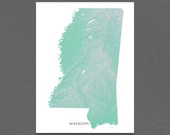 Mississippi Map Print, Mississippi State, Aqua, MS Landscape Art