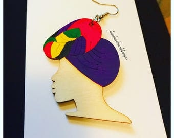Wooden Earrings - Multi-Color Head Wrap Queen