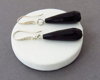 Black Drop Earrings, Bridesmaid Gift, Bridal Jewelry, Black Onyx Drop Earrings, Long Black Earrings, Bridal Earrings