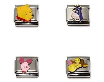 Walt Disney Italian Charm 9mm Winnie The Pooh Tigger Piglet Eeyore Stainless Steel Bracelet Link