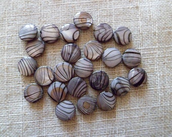 SET OF 10 ROUND BEADS OF TWO COLORS GRAY AND BLACK HIGHLIGHTS
