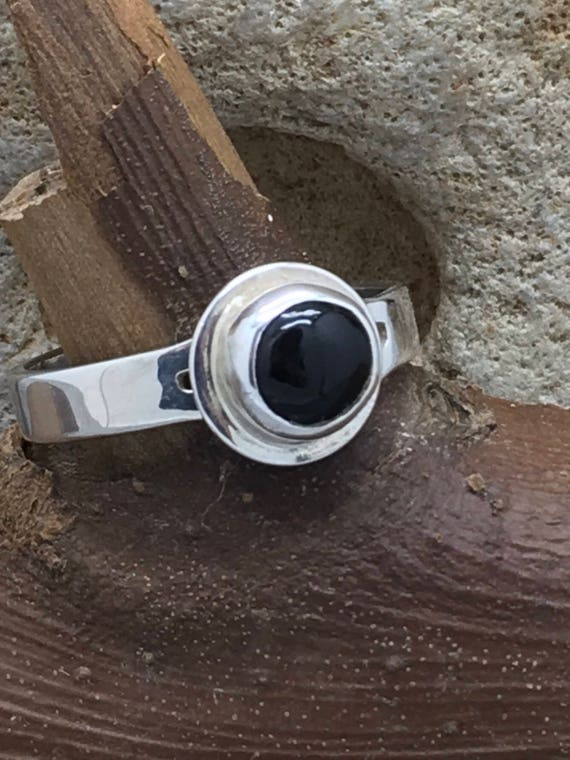Hancrafted Sterling Silver and Black Onyx Ring.
