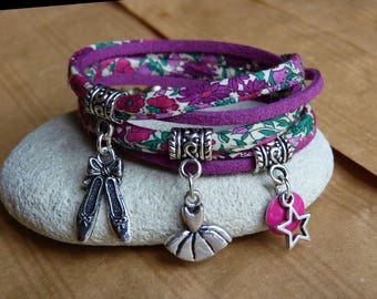 """Bracelet """"Entrechat"""" in liberty fabric and patterns dance"""