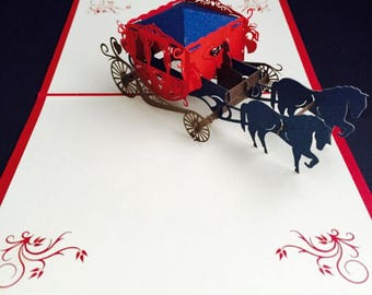 Happy Birthday /Valentines/Proposal/Engagement / Sister / Mother / Bestfriend / Childrens Card /3D Pop Up Red Carriage Card