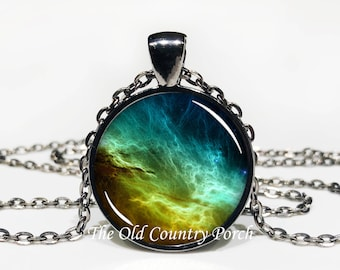 Outer Space Glass Pendant Necklace with Chain