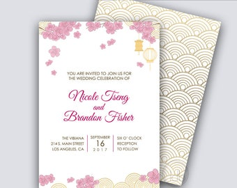 Modern Asian, Cherry Blossoms Wedding Invitation, Asian Wedding Invitations, Chinese Wedding, Lanterns, FILE DOWNLOAD, DIY Party Printables