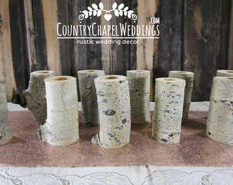 12 Aspen Log Candle Holders ~ Christmas Candles, Country Christmas Candles, Christmas Table Centerpiece, Log Candle Holder ~ Holiday Decor