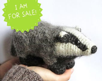 Crochet badger plush stuffed animal