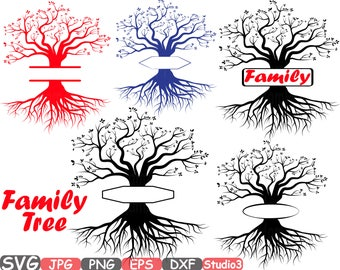 Split Family tree SVG Word Art Cutting Files Family Tree Deep Roots monogram clipart Silhouette Vinyl dxf Cricut Design Studio3 cameo -389s