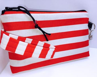 Red and White Wristlet, Phone Case, Women's Small Wallet, Multi-Purpose Wristlet, HEAVILY Padded, Coupon Organizer, Zipper Pouch