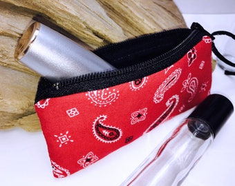 Red Bandanna Essential Oil Pouch, Lip Balm Case, Small Zipper Pouch, Lipstick Case, Essential Oil Bag, Doterra Oil Storage, Change Purse