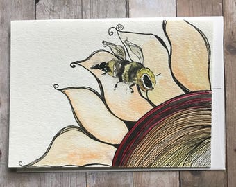 Watercolor Flower and Bee Card, Watercolor and Ink Flower Card, Hand Painted Card, Watercolor Flower Card