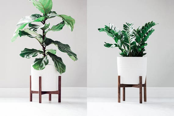 mid century modern plant stand with round legs hand made in. Black Bedroom Furniture Sets. Home Design Ideas