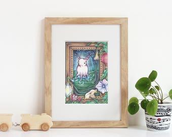 Fantasy art, Make believe creature, Cure art,Nursery illustration, Kids art Imaginary creature giclee print, nursery decor, Trivit Shallots
