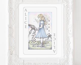 Alice in wonderland art, alice art, wonderland art, alice wonderland illustration, classic illustration, fairytale illustration, wall art