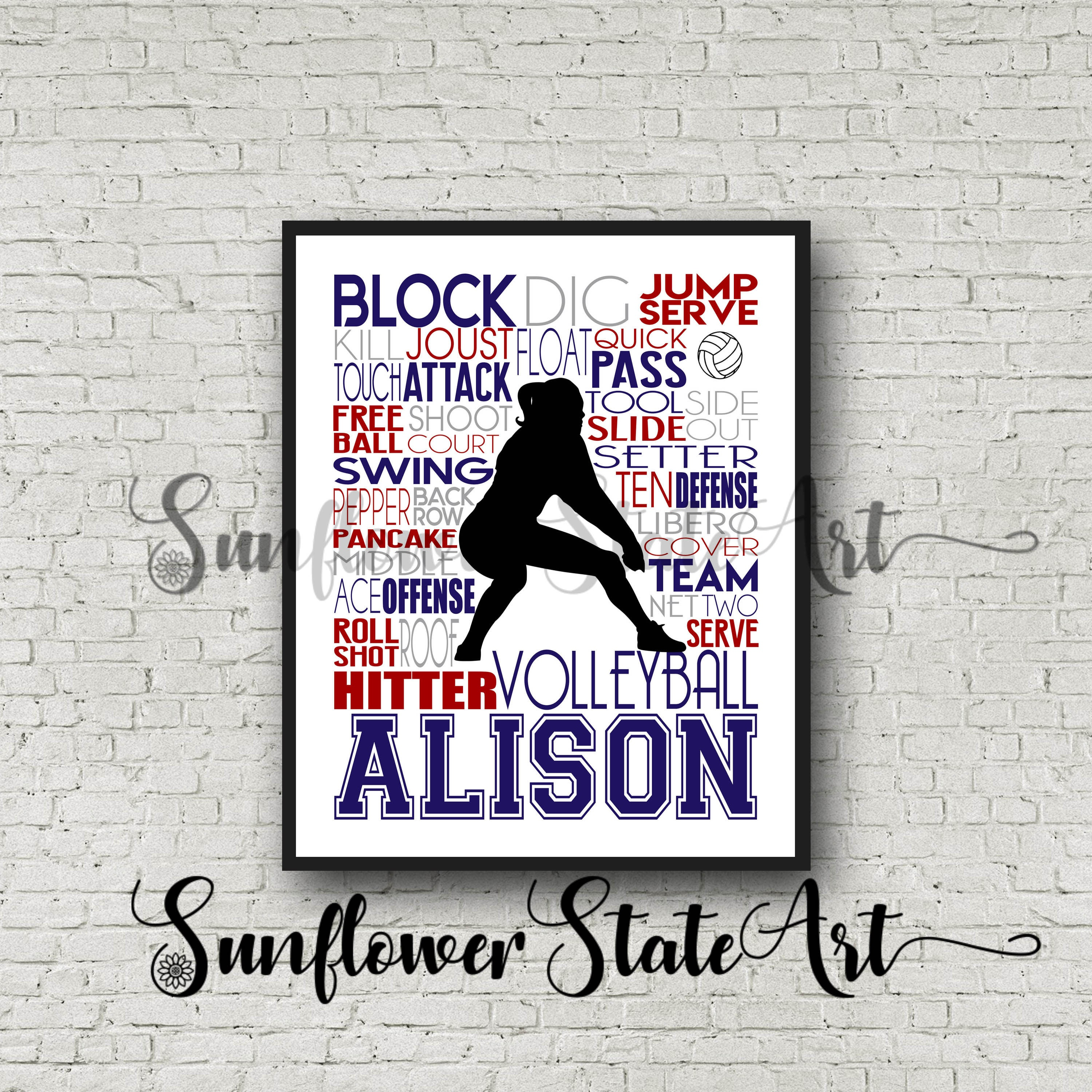 volleyball poster typography personalized volleyball team gift