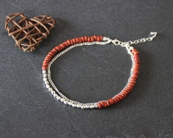 Ethnic anklet boho Bohemian MULTISTRAND, red heishi coconut beads and silver beads, silver metal chain