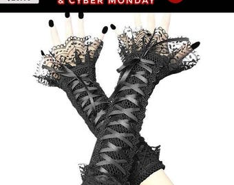 black long fingerless gloves, arm warmers in gothic, burlesque, lace fingerless gloves, goth bridal gloves, womens evening gloves 1420