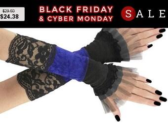 Gothic fingerless gloves, blue black arm warmers lace burlesque bohemian goth bridal gloves, womens evening gloves, victorian lolita 0095