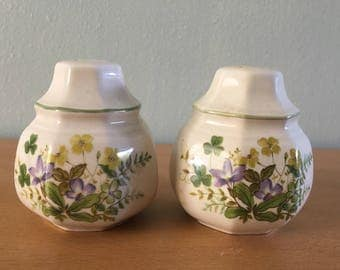 Lovely vintage Mikasa Greenery purple flower salt and pepper shaker set circa 1980s made in Japan perfect for tropical Old Florida kitchen!