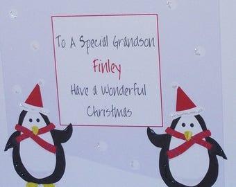 Lovely PersonalisedHandmade Penguins Christmas Card. Grandson Grandchildren Granddaughter Son Daughter, Niece Nephew Godchild Brother etc
