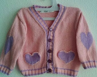 "Jacket knitted cotton ""hearts"" girl"