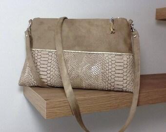 alcantara and leather shoulder bag leather snake