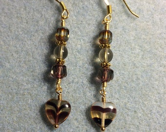 Grey and brown striped Czech glass heart bead dangle earrings adorned with grey brown Czech glass beads.