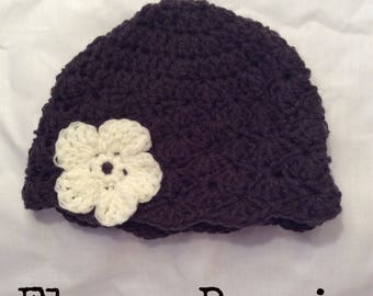 Crocheted Baby Beanie Plain/Flowered