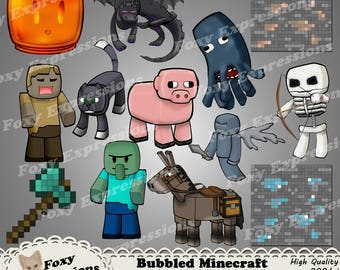 Bubbled Minecraft Characters pack 1 of 4 includes Donkey, EnderDragon, Husk, Ocolot, Pig, Skeleton, Squid, Vex, Zombie Villiagers,Axe & more