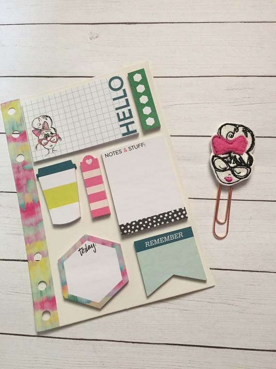 Watercolor Love Adhesive Notes Collection With Matching Planner Clip/Fashion Girl Planner Clip/Fashion Girl Paper Clip/Planner Accessories
