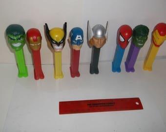 pez dispensers-lot of 8-marvel comics plus-1990s-GD