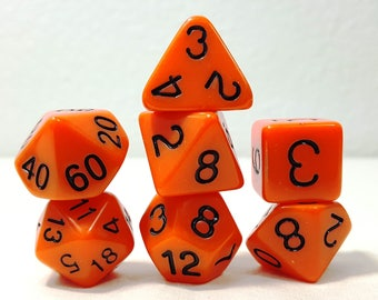 Perfect Plastic Dice - Gloss Polish with Ink - Orange / Black Ink