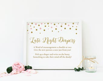 Girl Baby Shower, Late Night Diapers Game, Diaper Thoughts Game, Pink and Gold Baby Shower Game, Printable Baby Shower Sign - CG2
