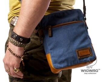 Men's bag, canvas leather men's bag, crossbody men's bag, canvas crossbody bag, men's shoulder bag, small bag, messenger bag