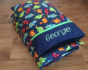 Boy Nap Mat Cover & Personalized Toddler Pillow/Dinosaurs (Green Accent) ***Choose your size!