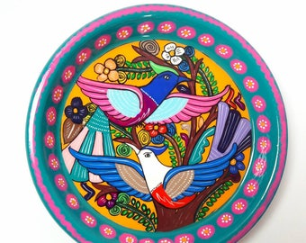Mexican folk art,Decorative PLATE, BIRDS(love) (6W x 2H inches)  mexican folk art, hand painted by jhf