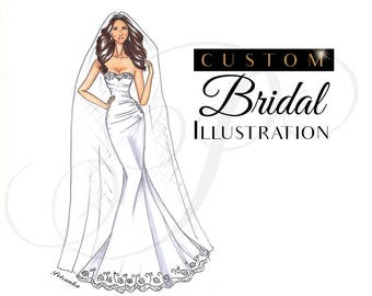 Custom Bridal Illustration - Custom Bridal Portrait - Wedding illustration - Custom Bridal Sketch - Wedding Gift
