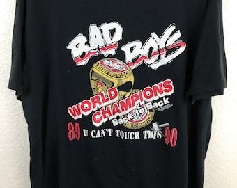 Vintage 80's Detroit Pistons Bad Boys Back to Back U cant touch this T Shirt XXL