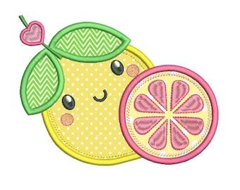 Lemon Machine Embroidery Applique Design, Pink Lemonade, Lemon Embroidery, Lemon Applique Embroidery, 3 sizes, Instant Download, No: SA562-7