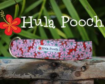 "Dog Collar ""Sweet Pea"" Pink Green - Medium, Large, Wide, Adjustable // FREE SHIPPING"