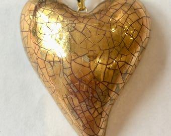 Large gold heart pendant. Porcelain heart pendant. Ceramic gold heart necklace.