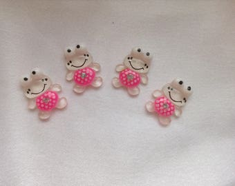 4 x polka dots and white size rhinestone frog cabochons: 20mm
