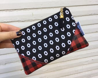 Buffalo Plaid and Diamonds Mini Tassel Clutch