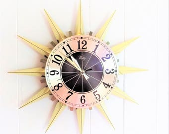 Starburst Wall Clock by Welby, Mid Century Starburst Clock, Black and Gold