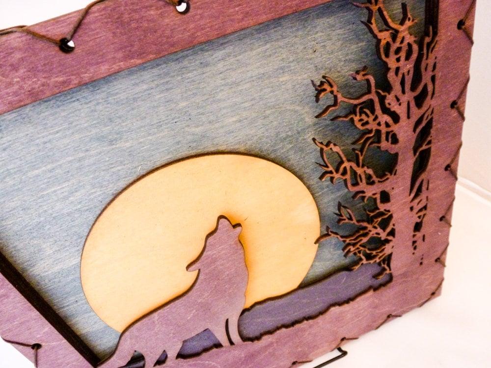 Purple Wolf - Art On Wood - Mountain Wall Art - Wolf Wall Decor ...