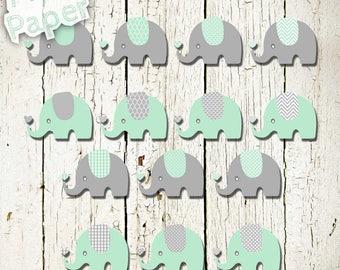 "Elephant Clip art: ""Mint & Gray"" zoo, jungle, safari, baby shower, baby. Transparent background"