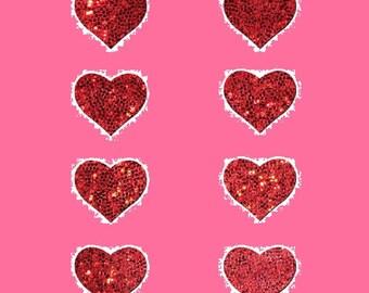 8 Mini Red Hearts Nipple & Body Pasties Nipple Covers  BOGO Free