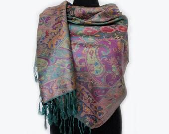 Rainbow Scarf, Paisley Boho Shawl, Purple Tribal Scarf, Large Pashmina Scarf, Fashion Shawl, Mothers Day Gift, Tribal Women Scarf